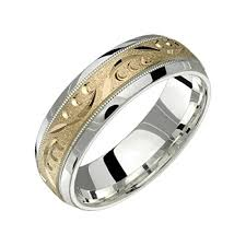 wide wedding bands alain raphael 2 tone sterling silver and 10k yellow gold 7