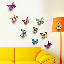 Home Decoration Items Online India Buy 7 Pieces 3d Multicolor Butterfly Wall Stickers Home Room