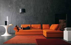 Orange Modern Rug by Yellow Wall Inside Modern House With Orange Grey Shag Rug And