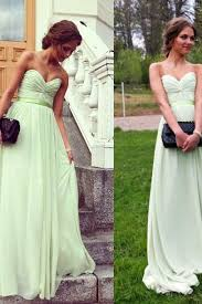 mint green chiffon strapless sweetheart a line long celebrity prom