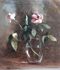 Glass Vase Painting Pink Roses In Glass Vase Oil On Canvas Gail Schulman As Art