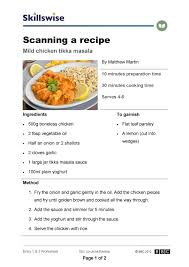 scanning a recipe tikka masala