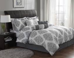 Gray Bed Set Bedroom With Gray White Damask Bedding Ideas Gray White