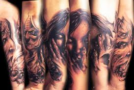 grey inked evil tattoo design by darklyspawned