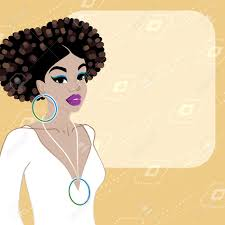 illustration of a beautiful dark skinned woman with natural