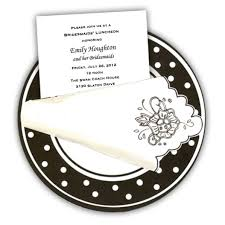 lunch invitation cards polkadot dinner plate bridesmaids luncheon invites paperstyle