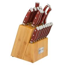 chef crimson 18pc knife block set red g10
