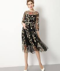maternity fashion flower embroidery black summer maternity dress part dresses