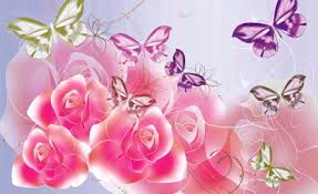 Roses And Butterflies - roses and butterflies other abstract background wallpapers on
