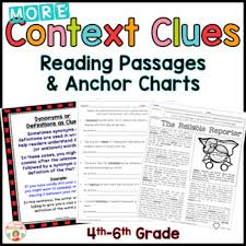 context clues reading passages worksheets and anchor charts tpt