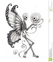 art skull fairy tattoo design smiley face fantasy hand pencil