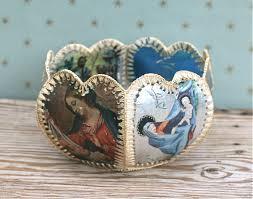 vintage hand made craft christmas card crochet basket bowl