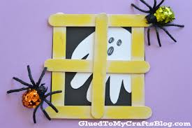 popsicle stick ghost window kid craft