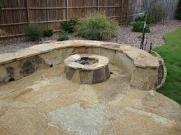 interior outstanding firepit and stone bench also paver patio