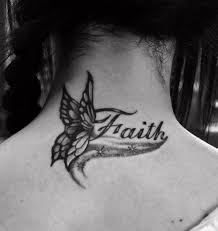 faith grey butterfly on back neck tattooshunt com
