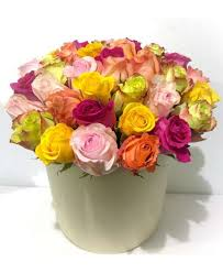 multicolored roses box made of 35 multicolored roses flowerscity
