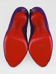christian louboutin purple suede flo 120 peep toe pumps size 9
