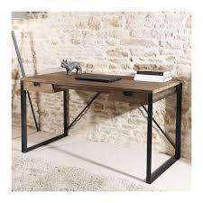 bureau bois et metal bureau 2 tiroirs bois teck pieds métal 140x70cm tinesixe so inside