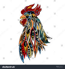 ornamental doodle rooster isolated on stock vector 520452763