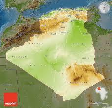 algeria physical map physical map of algeria darken