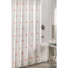shop allen roth polyester coral aqua patterned shower curtain at