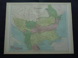 Vintage Map Balkans Old Map Of European Turkey In 1875 Large Original Antique