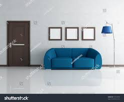 Living Rooms With Blue Couches by Blue Sofa Living Room Wooden Door Stock Illustration 57724228