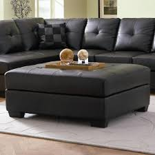 darie leather cocktail ottoman with wood feet ottomans