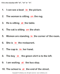 The Or Fill In The Blanks With The Appropriate Preposition At In On