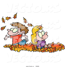 vector of happy cartoon kids playing in a pile of autumn leaves by