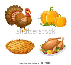 thanksgiving day icons turkey pumpkin pumpkin stock vector