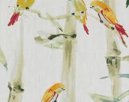 Upholstery Fabric With Birds Modern Bird Upholstery Fabric Pink Green Linen Fabric With