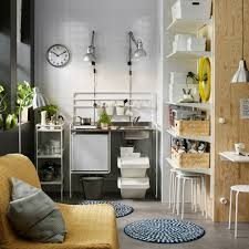 Small Kitchen Ikea Ideas A Small White Mini Kitchen With A Portable Induction Hob And A