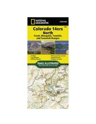 Map Of Colorado 14ers by National Geographic 1302 Colorado 14ers North Map Guide Shop Online