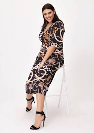 jumpsuit in chain print wrap front jumpsuit in multi