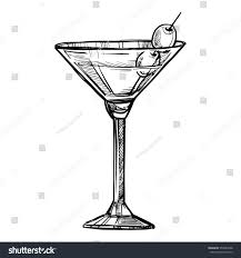 martini silhouette alcoholic cocktail hand drawn sketch vector stock vector 554863948