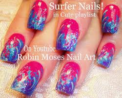 surfer sponge nail art design cool waves nails tutorial