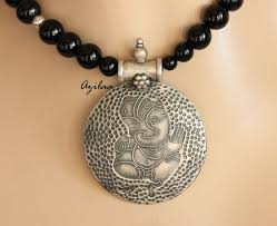 silver necklace black pendant images Silver necklace buy silver necklace online jpg