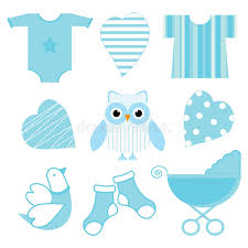 Owl Baby Shower Boy - baby shower illustration with cute blue baby owl baby tools and