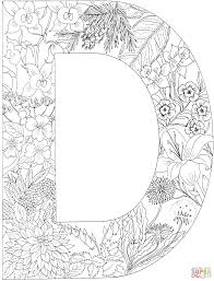 letter d with plants super coloring printable letters