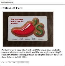 chili gift card chili s gift card text trolling strange beaver