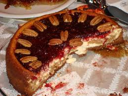 cheesecake with yam swirl and cranberry glaze thanksgiving