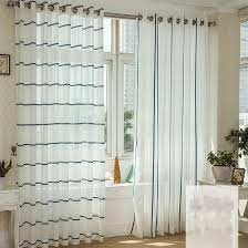 beautiful white sheer curtains with blue lines buy white sheer