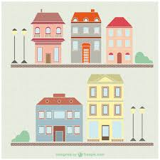 vintage houses and buildings drawing set vector free