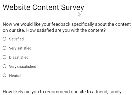 google form template website content survey w3resource
