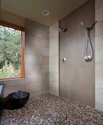 pebble stone tile with river rock floor bathroom contemporary and