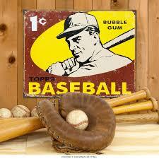 topps baseball bubble gum 1 cent metal sign kids u0027 sports decor