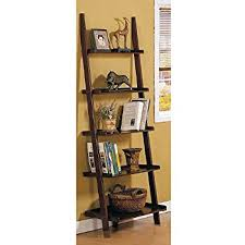 Natural Oak Leaning Shelves With Amazon Com Oak 5 Tier Leaning Ladder Book Shelf Kitchen U0026 Dining
