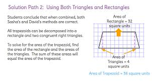 solve for the area of a trapezoid by decomposing it into