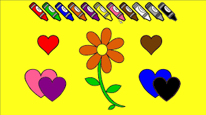 kids learn colors color a flower and hearts coloring page fun